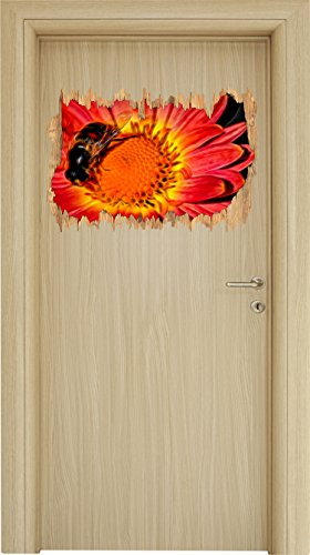 winzige Biene auf Margarete schwarz/weiß Holzdurchbruch im 3D-Look , Wand- oder Türaufkleber Format: 62x42cm, Wandsticker, Wandtattoo, Wanddekoration (Hipster Honig)