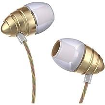 Uiisii US90 Écouteurs intra-auriculaires anti-bruit, câble tressé, avec Micro et Commande de contrôle intégrés - Compatible avec Iphone, Ipod, Ipad, Android, Mp3 (Or)