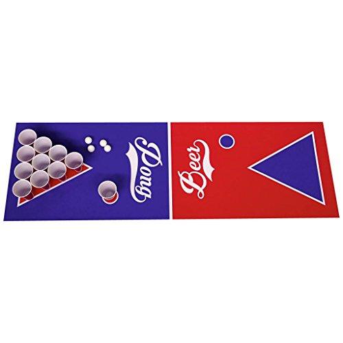 Beer Pong Beerpong Trinkspiel Set B-R Edition Spielfeld 220x50 + Becher Bälle