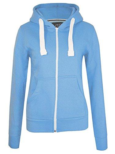 GG Femmes Lona plaine Zip Toison capuche Sweatshirt dames Vêtements Veste Manteau Bleu Ciel