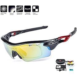 Locisne Gafas de sol de deporte al aire libre - gafas de sol de deportes de montar UV400 protección de la luz del sol gafas de esquí polarizadas gafas de ciclismo gafas con 5 lentes intercambiables + 1 bolsa suave para correr senderismo pesca conducir esquí de viaje (negro)