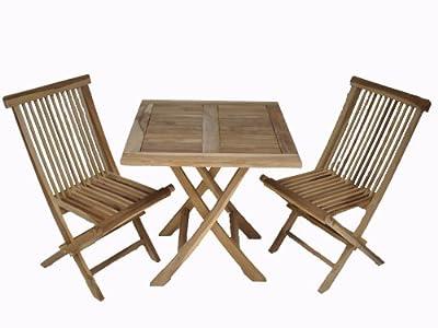 Ambientehome Teakholz Balkonset Sitzgruppe Bistroset Tisch eckig, Natur, 3-teiliges Set