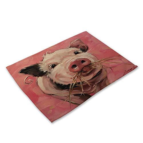 Platzsets 6er Set, Baumwolle Und Leinen Mischgewebe Jahrgang Rechteckig Waschbar Kreativ Modern Nettes Schwein Mit Roter Nase Tierisches Öl Malerei Wirkung Gedruckt Tuch Für Die Ganze Familie. (Nettes Schwein Nase)