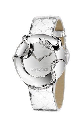 Roberto Cavalli R7251165615 Snake Ladies Watch Quartz Analogue Silver Dial Silver Leather Strap