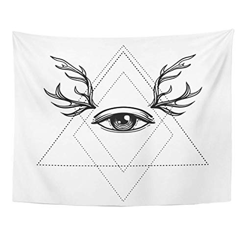 AOCCK Wandteppiche Tapestry Wall Hanging All Seeing Eye Symbol Blackwork Tattoo Sacred Geometry Third Deer Antlers White 60