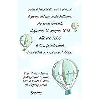 Biglietti Inviti battesimo personalizzati mongolfiera vintage - partecipazioni battesimo o compleanno bimbo bimba disponibile in tutti i colori e diversi modelli set da 10 biglietti