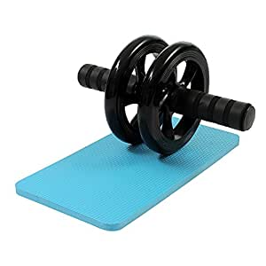 SAMPLUS MALL (LABEL) Dual-Wheel Abs Carver with Thick Knee Pad for Abdominal and Core Workout (Multi Color)