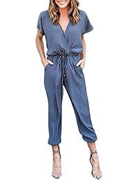 Yuanzhiyi Mujer Mono Jumpsuits Elegant Bodysuit Verano Pantalones Largos para Fiesta Playa Beachwear y Clubwear/Elija una Medida Mas Grandes si Las Caderas estan muy Llenas