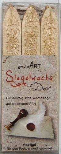 gravurART - Siegelwachs mit Docht - Elfenbein Perlmutt - 3 Stangen -