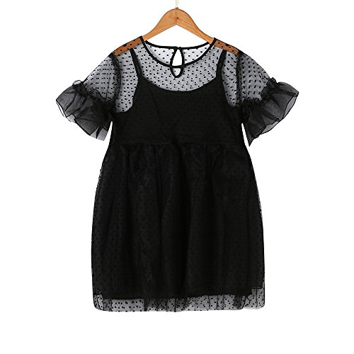 JUTOO Kinder Infant Kid Girls Solid Dot Net Garn lässig Princess Dress Clothes (Schwarz,100) (Power Rangers Girl Kostüme)