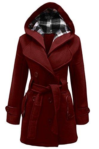 Cexi Couture Damen Zweireihig Fleece Winterjacke Mit Gürtel Jacke Mit Kapuze Weinrot