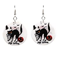 MSYOU Cute Halloween Earring Heart Hanging Dangle Earrings Halloween Drop Earrings Halloween Jewellery for Women Girl(White)