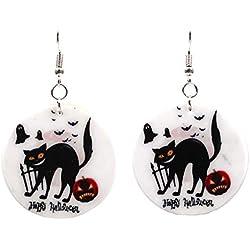 MoGist - Pendientes de Halloween, diseño de Gato, Color Negro