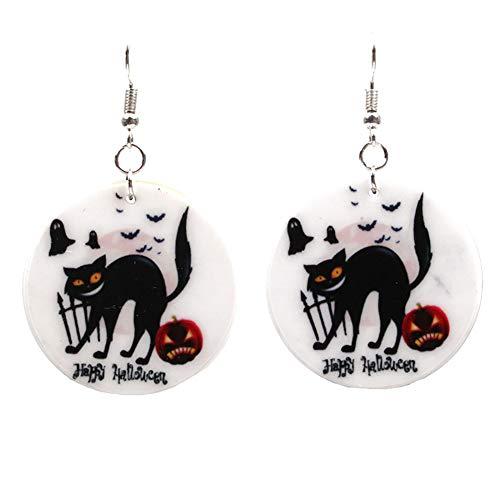Jofree Fashion Halloween Schwarze Katze Kürbis baumeln Ohrringe Halloween Zombies Kürbis Fledermaus Ohrstecker Ohrringe
