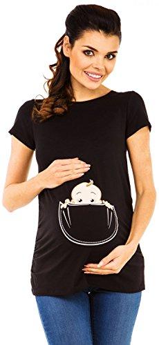Zeta Ville - Shirt Camiseta Premamá estampado bebé asomándose para mujer - 501c (Negro, EU 42/44, XL)