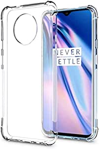Amagav Transparent Oneplus 7T Silicone Soft Mobile Phone Back Case Cover Compatible for Oneplus 7T