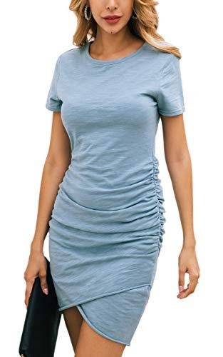 ECOWISH Damen Enges Kleid Sommerkleid Rundhals Kurzarm Kleid Bodycon Unregelmäßig Minikleid Blau S - Schickes Kurzarm-minikleid