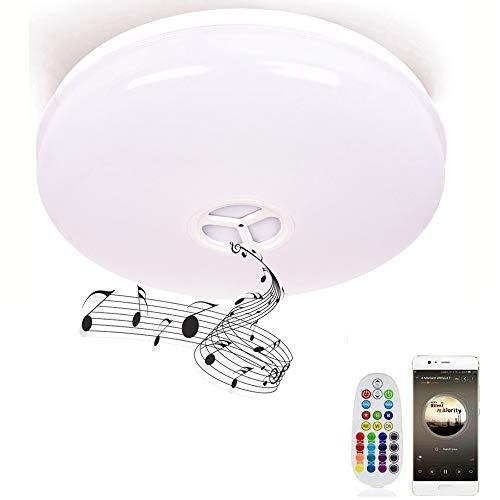 Lámpara de techo con mando a distancia, HOREVO Ø36cm IP65 de luz de techo regulable con altavoz Bluetooth Música, aplicación de teléfono inteligente Blanco cálido/Luz de baño frío, Lámpara de...