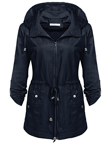 Beyove Damen Regenjacke Windbreaker Wasserdicht Regenmantel Herbst Jacke mit Anorak Kapuze - Wasserdicht Anorak