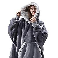 IvyH Oversized Hoodie Sweatshirt Deken, Draagbare Sherpa Deken Hooded Sweatshirt Lange Mouw Super Zachte Warme Hoody One Size fits Mannen Vrouwen Meisjes Jongens Unisex