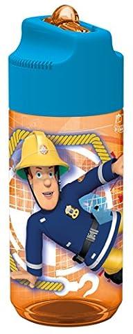 Feuerwehrmann Sam Tritan Trinkflasche mit integriertem Strohhalm ca. 430 ml für Schule Kindergarten und
