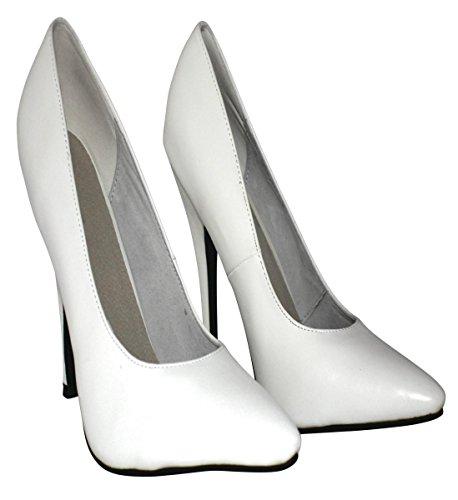 Erogance Kunstleder High Heels Pumps, Scarpe col tacco donna Bianco (bianco)