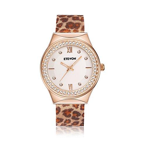 DAGE Women's Quartz Leopard Mesh Strass Armbanduhr mit Crystal Rose Gold Case Edelstahl wasserdicht, Unique Fashion Uhren für Damen
