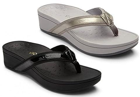 Vionic Womens 380 Hightide Pacific Black Leather Sandals 37 EU