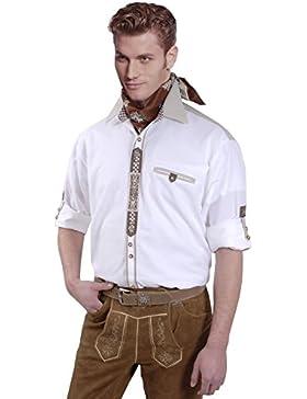 Top-Quality - Trachtenhemd Herren Langarm/Kurzarm - Komfort Reine Baumwolle - Weiß