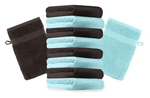 Betz Lot de 10 gants de toilette Premium turquoise et marron foncé, taille: 16x21 cm