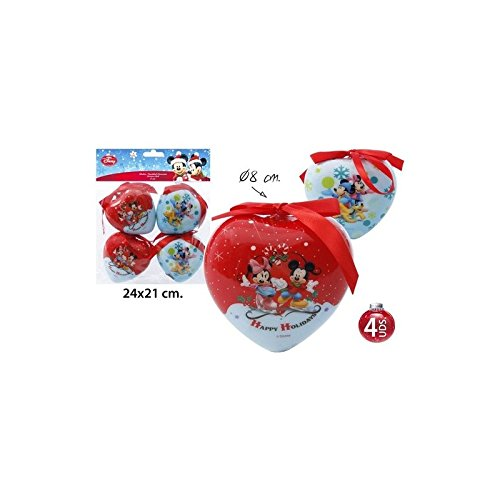 Disney Mickey & Minnie - Decorazioni natalizie a cuore, 4 pz, ø 8 cm