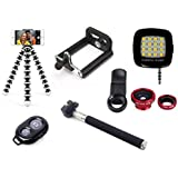 De-TechInn Mobile Phone Lens Accessory Combo For All Smart Mobile Phones With Flexible Mini Gorilla Tripod Holder,Bluetooth Selfie Remote, 16 LED Selfie Flashlight And Universal 2 In 1 Camera Lens Kit