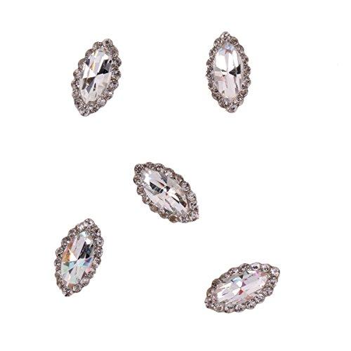 RAIN QUEEN 5Pcs Ovale Gemme Plein de Cristal de Bijoux Accessoire Nail Art 3D Décoration Ongle
