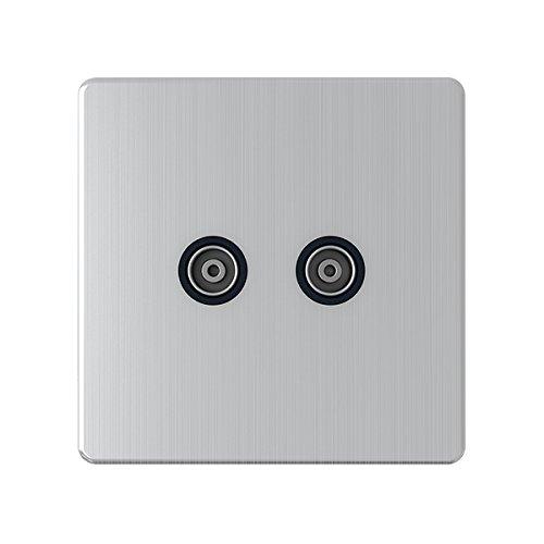 Doble de 2 elementos tv toma de antena coaxial con inserto negro mate A5 TVS2GSFBL cromo satinado mate