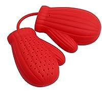 ODN Silikon Handschuhe Stil Teefilter Teesiebe Teekugeln Tee-Ei Tea Leaf Sieb Gewürzsieb (Rot)