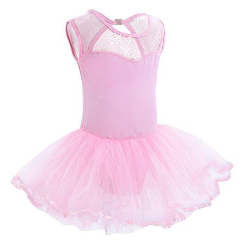 iiniim Mädchen Kleider Ballettkeider Ballettanzug Turnanzug Trikot Tanz Leotard Kleider mit Tüll Rock Rosa Ballettkleid 98-104/3-4 ()