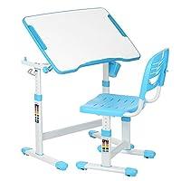 IKAYAA Adjustable Kids Desk Chair Set Tiltable Children Activity Table Study Desk & Chair Set for age 3 to 10,Bule