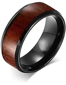 Daesar Edelstahl Ring Schwarz Carbide Herren Ringe Wood Comfort Fit Ring