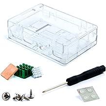 Aukru® Transparente Caja Para Raspberry Pi 3 Model B y Pi 2 Model B/ B+ (B Plus) con 3x disipador de calor