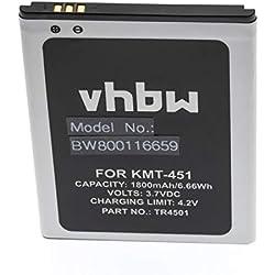 vhbw Li-ION Batterie 1800mAh (3.7V) pour téléphone Portable Mobil Smartphone Archos 50 Titanium 4G, A50 Titanium 4G