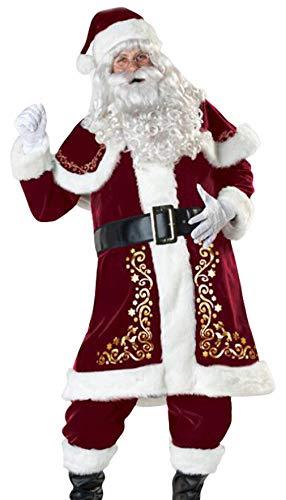 Cloud Kids 9 teiliges Herren Weihnachtsmann Kostüm Nikolaus Kostüm Weihnachtsmann Verkleidung (XX-Large)