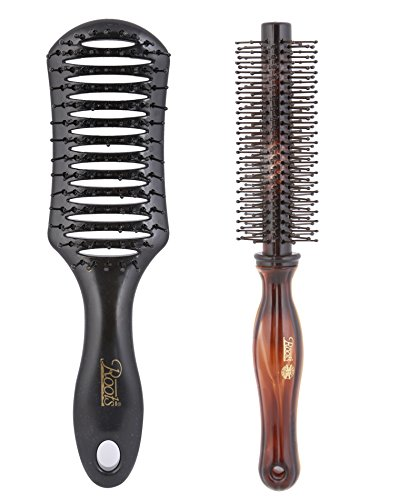 Roots Combo of Mens Hair Brush & Anti-Bacteria Round Brush