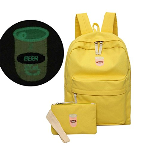 Saingace Art- und Weisefrauen-Mädchen-Schule-Schulter-Beutel-Rucksack-Rucksack Segeltuch-Spielraum-Beutel Schultertasche Freizeitrucksack Tasche Rucksäcke Gelb