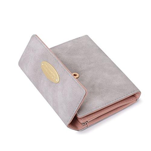 Damen Geldbörse Klein Portemonnaie für Frauen Leder Geldbeutel Damen Brieftasche Damen Kurz mit Münzen Taschen Geld Organisator Und Kartenhalter (Grey)