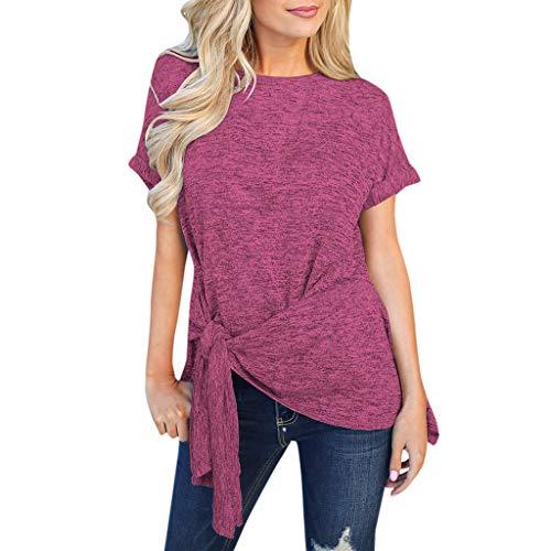 iHENGH Damen Top Bluse Lässig Mode T-Shirt Frühling Sommer Frauen Bequem Blusen Oansatz Solide Kurzarm Krawatte Pullover Unregelmäßige Shirt(Hot Pink, ()