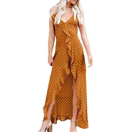 Frauen Kleid, Jessboy Frauen Chiffon Punktdruck Partei Bleistift Max Kleid Verbandkleider Damen-Kleid mit gepunktetem Rücken Korean Hanf Double Layer