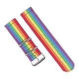 Nylon Cavans Uhr Ersatzband mit Ballistic Nylon Material Armband und High-End-Silber-Edelstahl Buckle 22mm (Regenbogen)