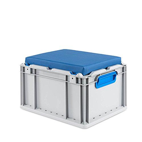 aidB Eurobox Seat Box, blau, (400x300x265 mm), Griffe geschlossen, Sitzbox mit Stauraum und abnehmbarem Kissen