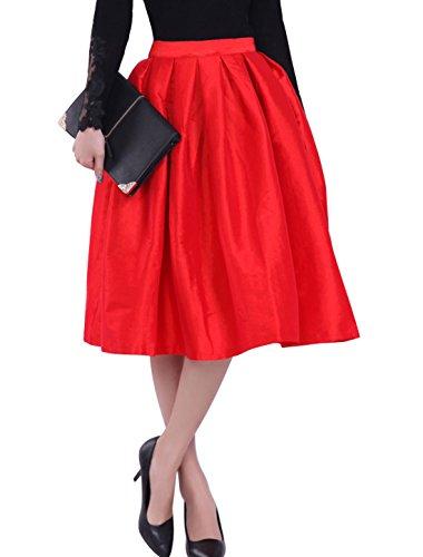 sourcingmap Damen Hohe Taille Design Plissiertes Detail Langer Rock Rot