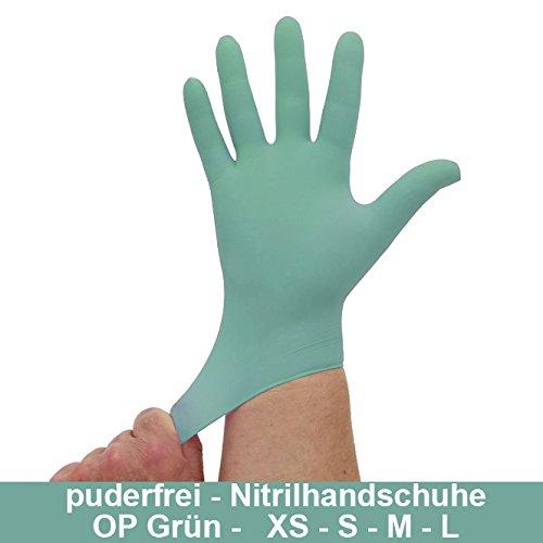 Nitrilhandschuhe OP Grün, Einmalhandschuhe, Einweghandschuhe, 100 Stück, Größe L
